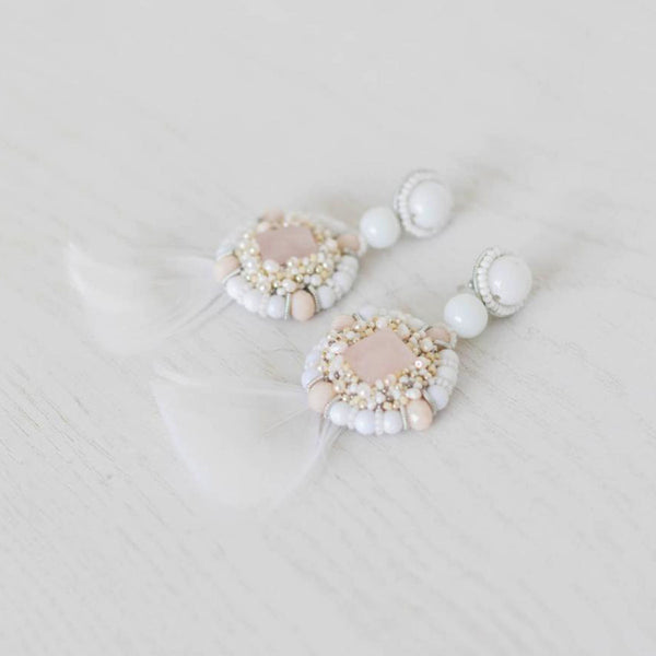 Elle + Adhira Estella Earrings - Rose Quartz with Feather