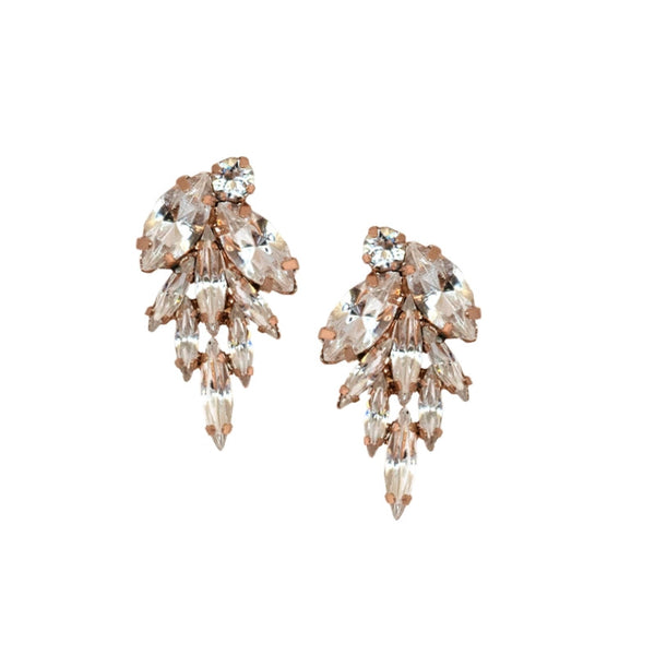 Jagged Dawn Crystal Cluster Earrings in Rose Gold - Elle + Adhira