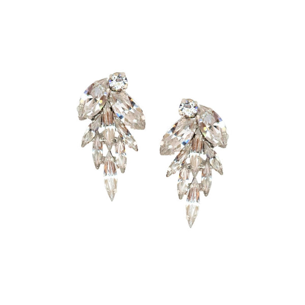 Jagged Dawn Crystal Cluster Earrings in Silver - Elle + Adhira