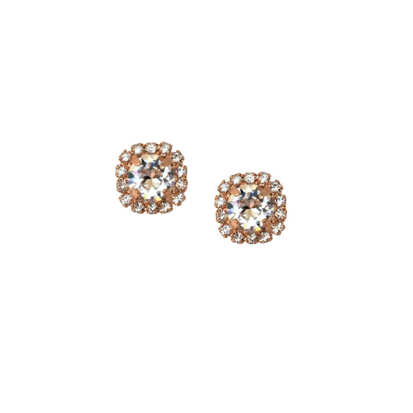 Soleil Swarovski Crystal Halo Stud Earrings in Rose Gold - Elle + Adhira