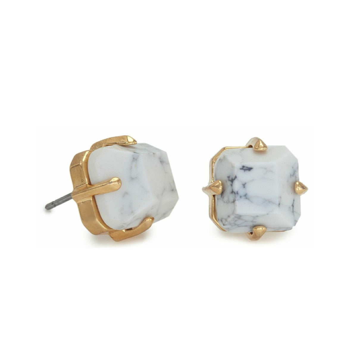 Faceted Cube Marble Stud Earring - Elle + Adhira
