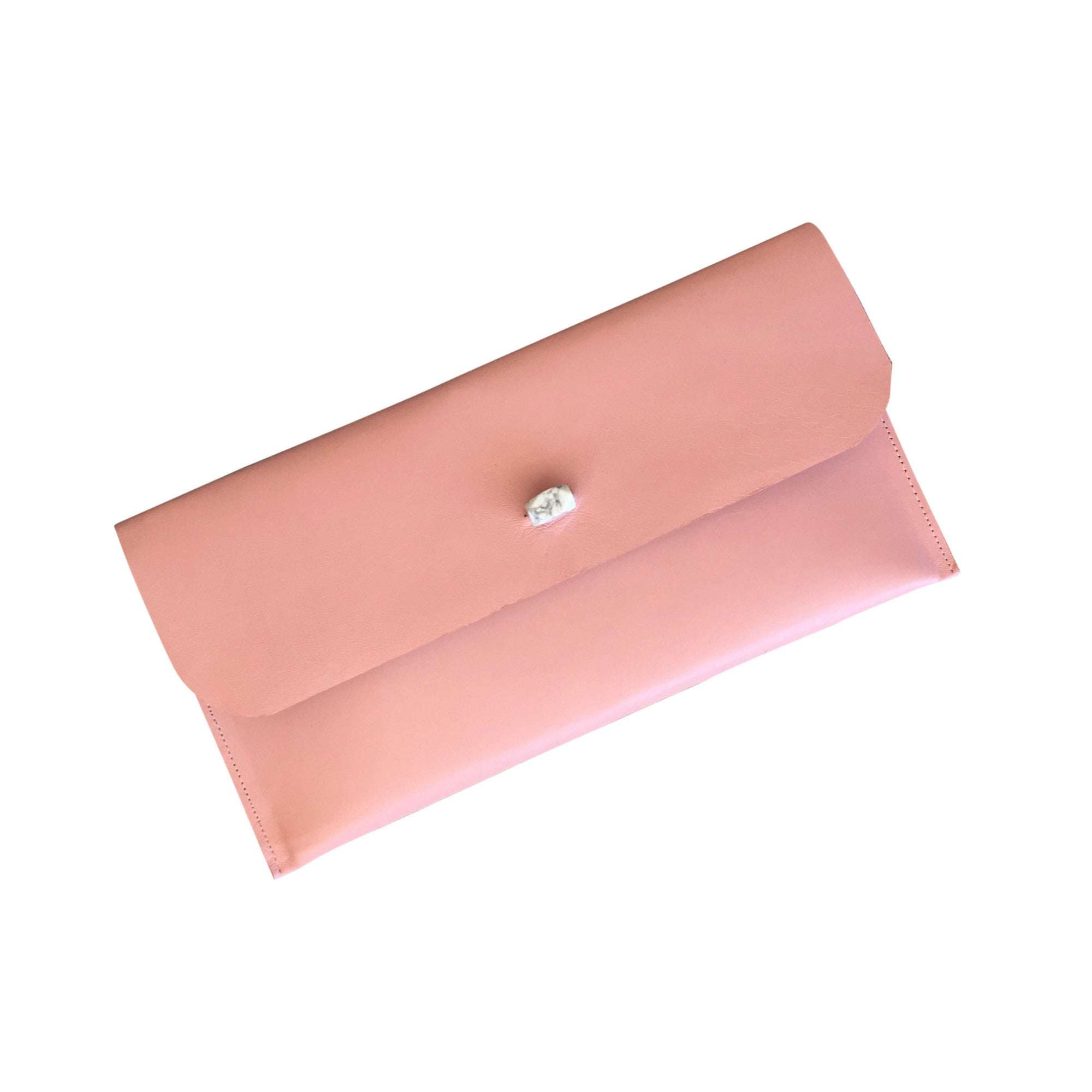 Lana Soft Clutch with Howlite Stone - Nude Pink - Elle + Adhira