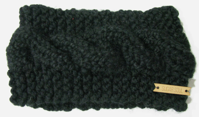 Black Winter Crown Cable Knit Headband Hand Knit
