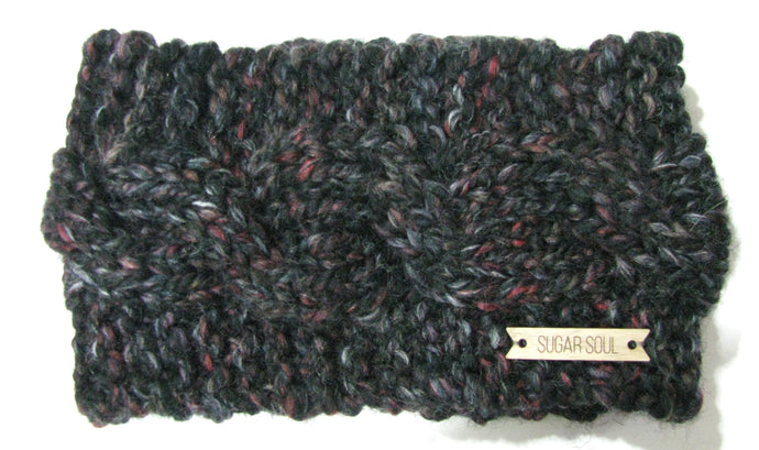 Dark Grey Winter Crown Cable Knit Headband Hand Knit
