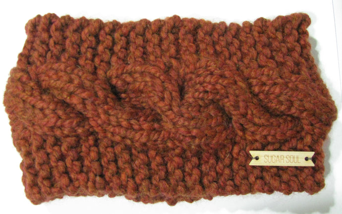 Rust Orange Winter Crown Cable Knit Headband Hand Knit