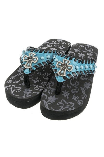 Ornate Cross & Leather Laced Fashion Wedge Flip Flops