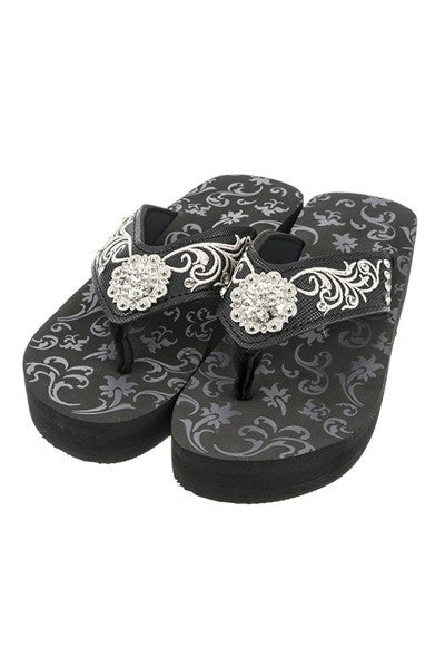 Black Concho & Embroidery Fashion Wedge Flip Flops