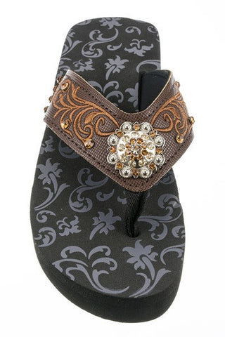 Brown Concho & Embroidery Fashion Wedge Flip Flops
