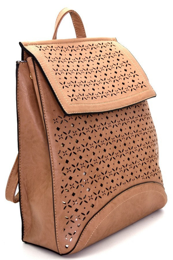 Tan Laser-Cut Fashion Flap Backpack