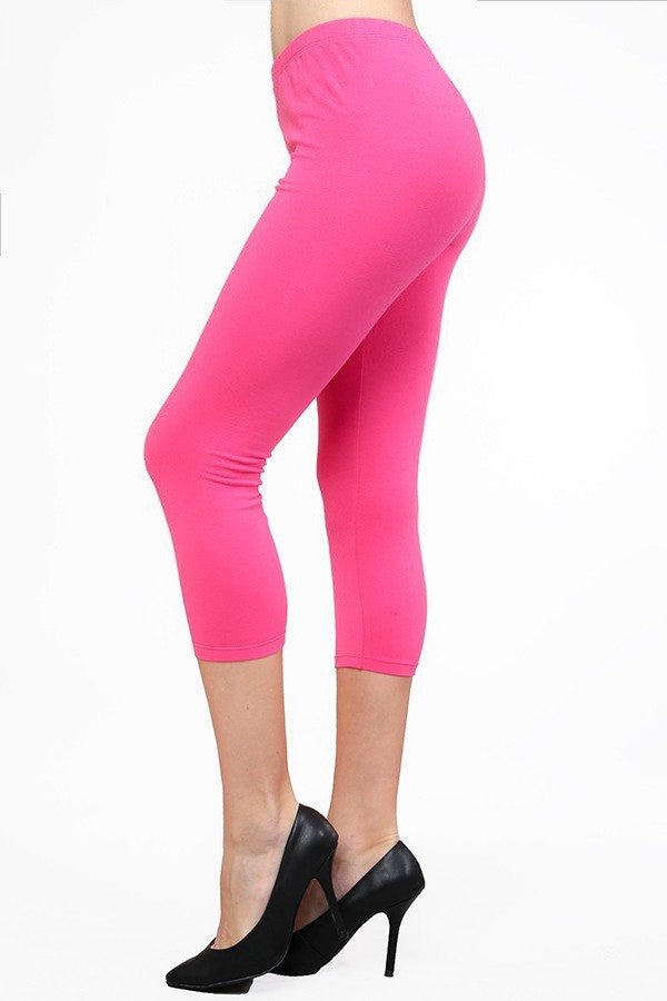 Plus Size Solid Cotton/Spandex Capris (more colors)