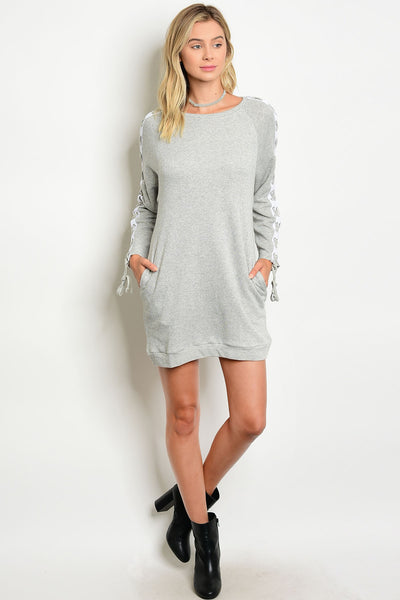 Lace Up Sweater Dress - Grey