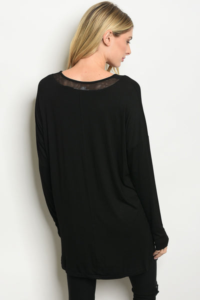 T-front Neckline Top - Black