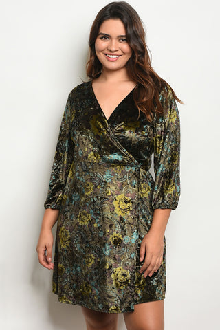 Curvy Velvet Wrap Dress - Olive