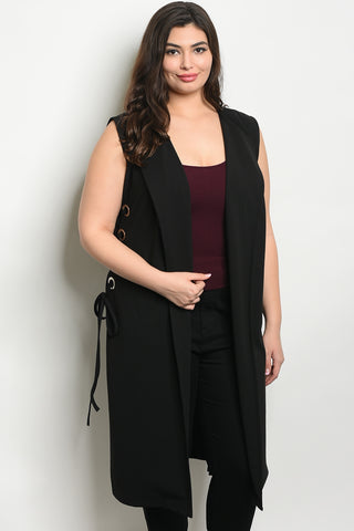 Curvy Lace Up Vest - Black