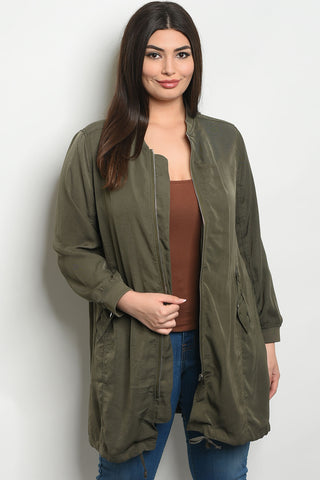 Long Curvy Bomber Jacket - Olive