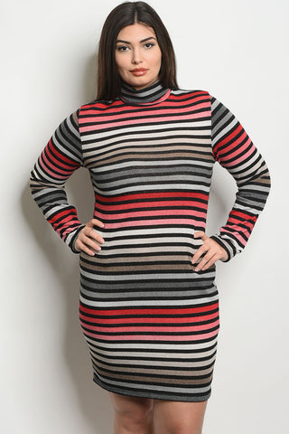 Curvy Multi-Color Striped Dress