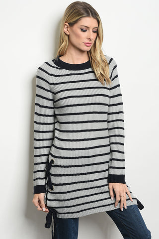 Striped Lace Up Sweater - Navy/Grey
