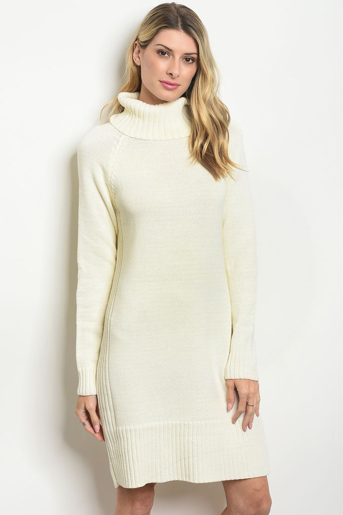 Cable Knit Sweater Dress - Ivory