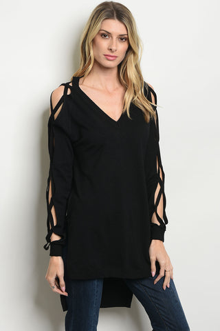 Criss Cross Sleeve Tunic - Black