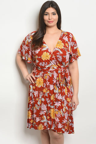 Curvy Floral Wrap Dress