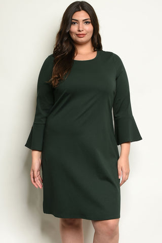 Curvy Bell Sleeve Dress - Green