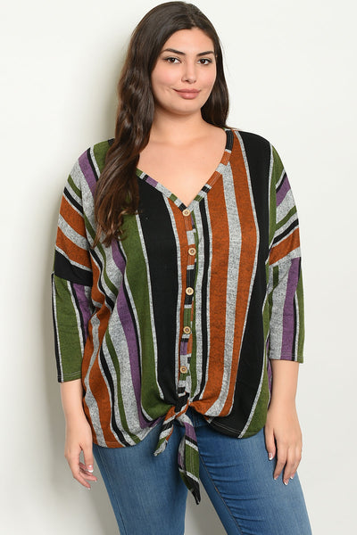 Curvy Knot Front Striped Slub Top