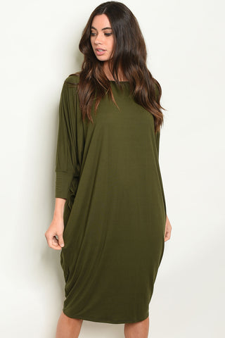 Olive Baggy Sleeve Dress