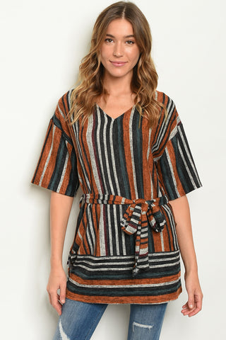 Orange Multi-Striped Tunic Top