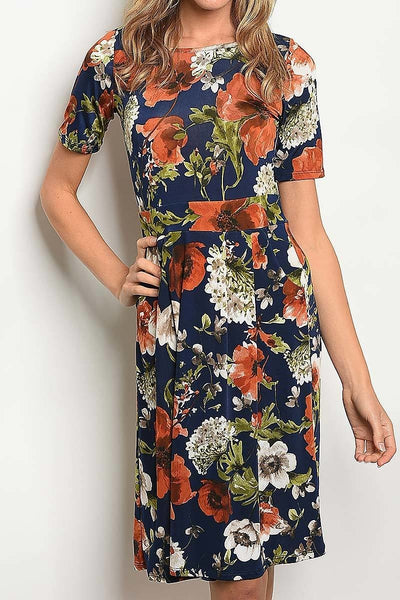 Navy Floral Pleated Dress