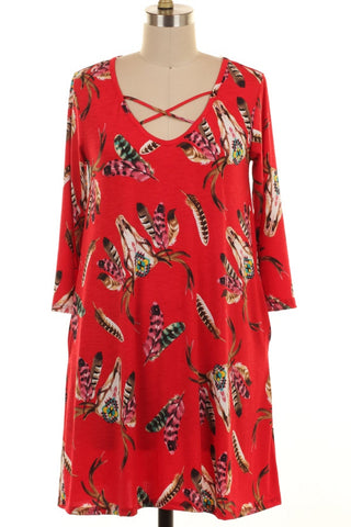 Plus-Size Criss Cross Feather Print Dress