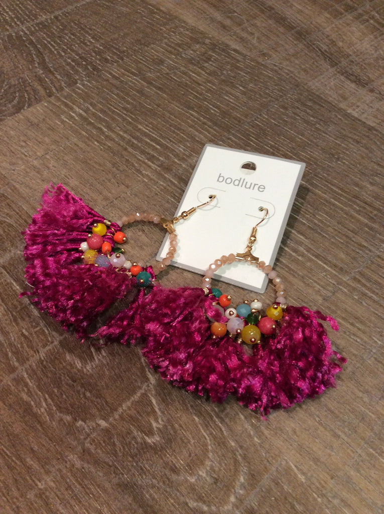 Magenta Fringe Statement Earrings