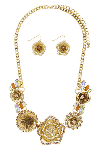 Colorful Rhinestone Rose Statement Necklace Set (more colors)