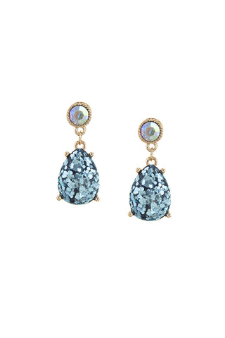 Crystal Accent Glitter Teardrop Earrings (more colors)