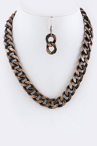 Antique Patina Chain Necklace Set