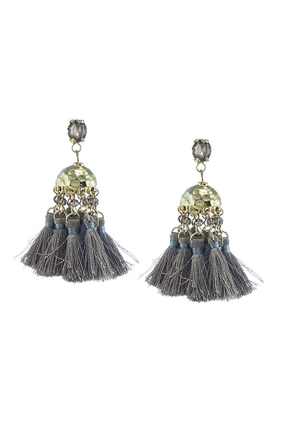 Jeweled Tassel Drop Earrings