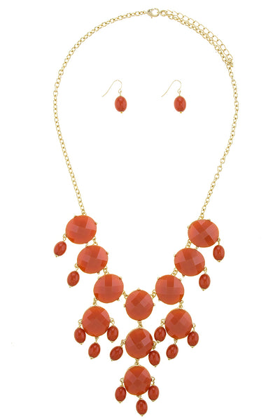 Oversized Faux Stone Bib Necklace Set (more colors)