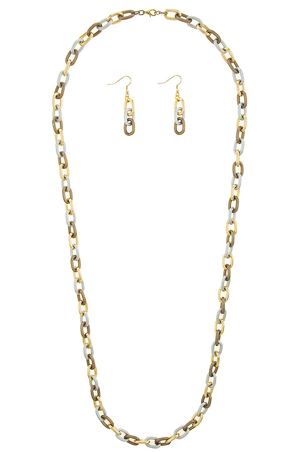 THREE TONE WIDE LINK CHAIN STRAND NECKLACE SET