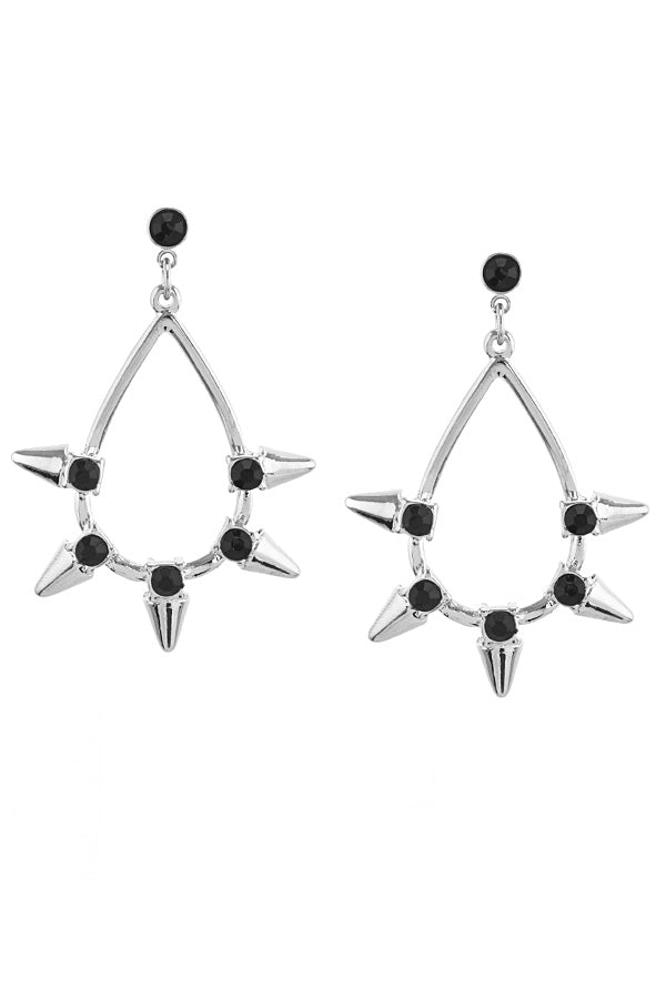 CRYSTAL ACCENT SPIKY TEARDROP EARRINGS
