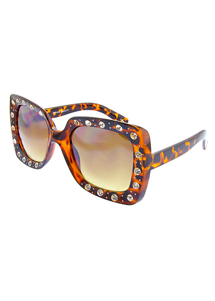 Over-Sized Square Embedded Rhinestone Sunglasses