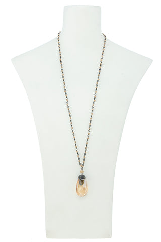 CRYSTAL TEARDROP BEADED CHAIN NECKLACE
