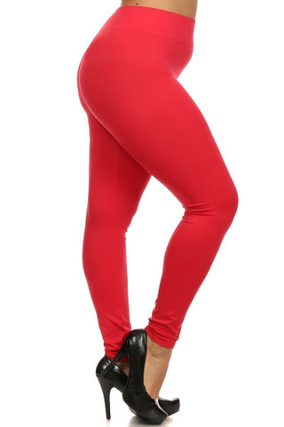bebf90b316cf0 Plus Size Red Basic Seamless Leggings
