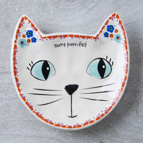 Folk Art Dish- Cat