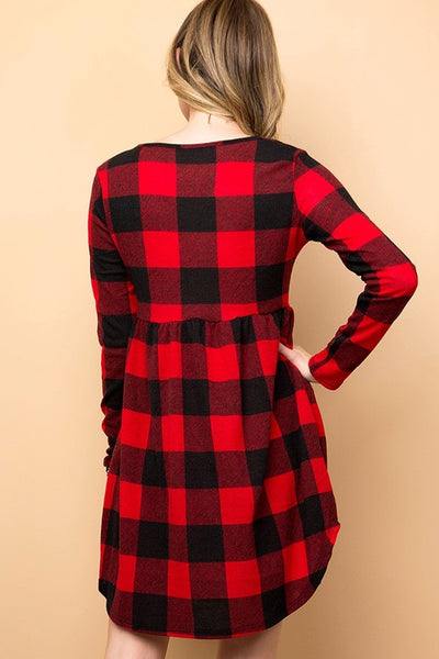 Buffalo Plaid Flare Dress