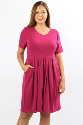 Plus Size Magenta Pleated Dress