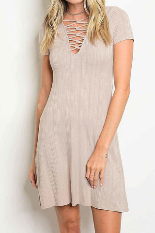 Lace Up Ribbed Dress