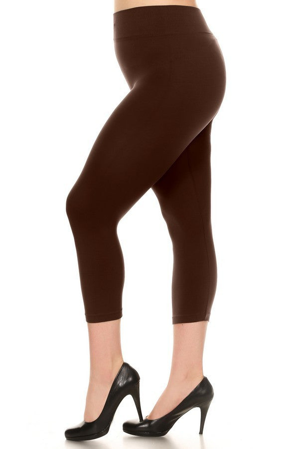 c25cf4e9b821e Brown Plus Size Solid Capri Leggings – The Boxcar