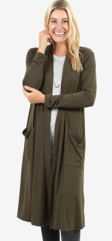 Slouchy Pocket Cardigan - Olive