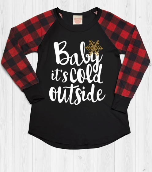 """Baby It's Cold Outside"" Buffalo Plaid Top"