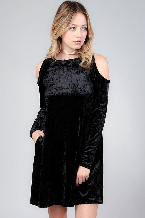 PLUS SIZE CRUSHED BLACK VELVET COLD SHOULDER DRESS