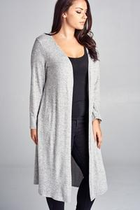 Curvy Cardigan with Side Slits - Lt. Grey
